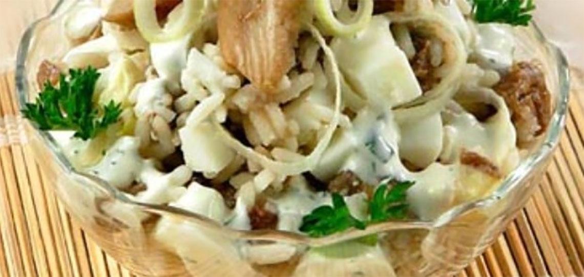 Салат из маринованных белых грибов